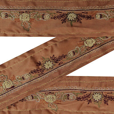 Vintage saree Border Brown Embroidered Antique Sewing Fabric Trim 1 Yd Lace