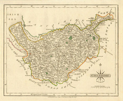 Antique county map of CHESHIRE by JOHN CARY. Original outline colour 1793