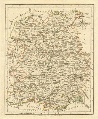 Antique county map of SHROPSHIRE by JOHN CARY. Original outline colour 1793