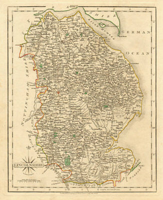 Antique county map of LINCOLNSHIRE by JOHN CARY. Original outline colour 1793
