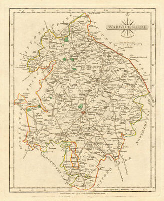 Antique county map of WARWICKSHIRE by JOHN CARY. Original outline colour 1793