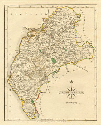 Antique county map of CUMBERLAND by JOHN CARY. Original outline colour 1793