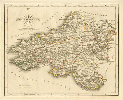 Antique map of SOUTH WALES by JOHN CARY. Original outline colour 1793 old