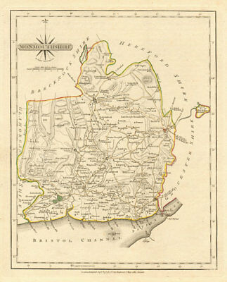 Antique county map of MONMOUTHSHIRE by JOHN CARY. Original outline colour 1793