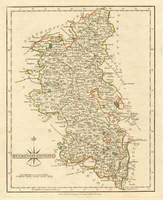 Antique county map of BUCKINGHAMSHIRE by JOHN CARY. Original outline colour 1793