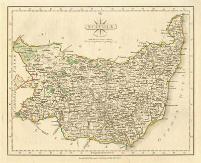 Antique county map of SUFFOLK by JOHN CARY. Original outline colour 1793