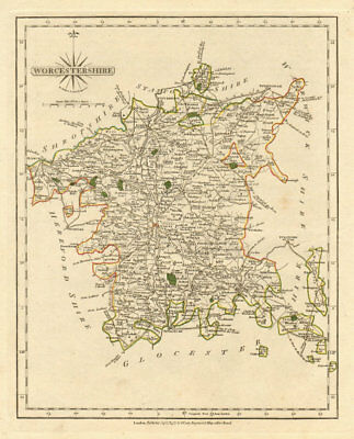 Antique county map of WORCESTERSHIRE by JOHN CARY. Original outline colour 1793