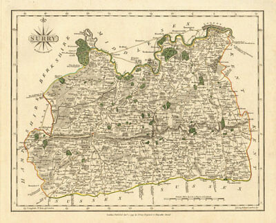 Antique county map of SURREY by JOHN CARY. Original outline colour 1793