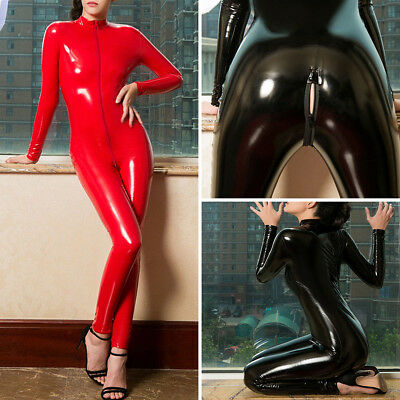Latex Leather Shiny Glossy Bodysuit Zipper Open Crotch Catsuit Jumpsuit Lingerie