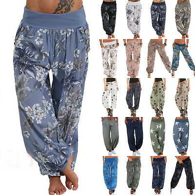 Women's Ali Baba Harem Trousers Pants Leggings Baggy Loose Aladdin Hippy Palazzo