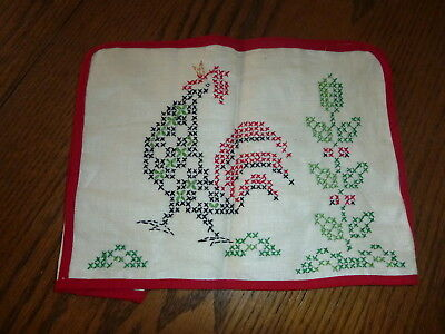 Vintage Hand Stitched Embroidered or Cross Stitch Toaster Cover~ Rooster