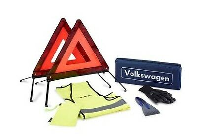 New Genuine Vw Accessory Emergency Breakdown Kit - Warning Triangle Vest Gloves