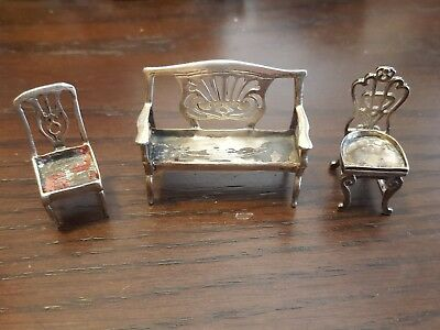 Set Chairs Couch Dollhouse Miniature Furniture STERLING 925 Silver