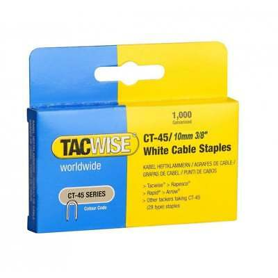 "CT-45 10mm Cable Tacker White Staples 1000 Box 3/8"" For Tacwise Stanley NEW"