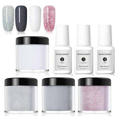 7Bottles NICOLE DIARY Gray Glitter Nail Kits Dipping Acrylic Powder Liquid Set