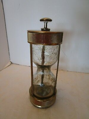 Vintage Hourglass Metal & brass Musical Decanter How Dry I Am Mesh Japan Atomic
