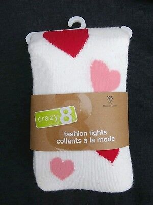 CRAZY 8 Thick Winter Cotton Blend Tights Ivory Red Pink Hearts Girls Size XS 4
