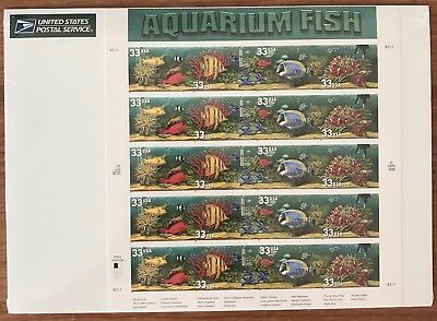 US Stamp Sheet Aquarium Fish 33 Cent