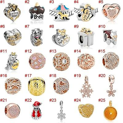 European Silver Charms Hearts Beads CZ Xmas Pendants Fit 925 Sterling Bracelets