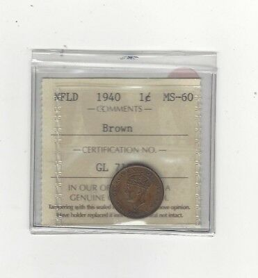 **1940**, ICCS Graded Newfoundland Small One Cent, **MS-60**