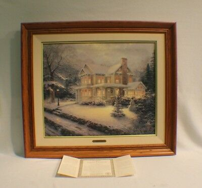 Thomas Kinkade Victorian Christmas III S/N Canvas Framed Limited Painting w/COA