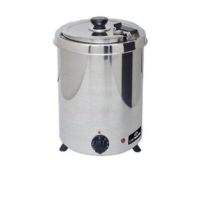 Chefmaster 6 Litre ltr Soup Kettle Stainless Steel - HEA777  Catering Hinged Lid