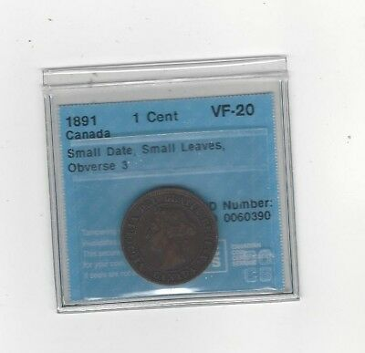 **1891 SD/SL Obv#3**, CCCS Graded Canadian, Large One Cent, **VF-20**