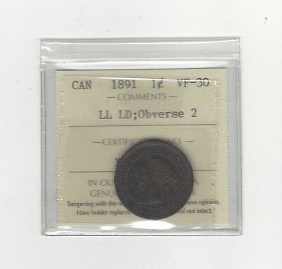 **1891 LD/LL Obv#2**, ICCS Graded Canadian, Large One Cent, **VF-30**