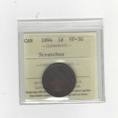 **1894**, ICCS Graded Canadian, Large One Cent, **VF-30 Scratches**