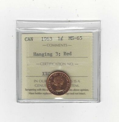 **1963 Hanging 3**, ICCS Graded Canadian, Small One Cent, **MS-65**