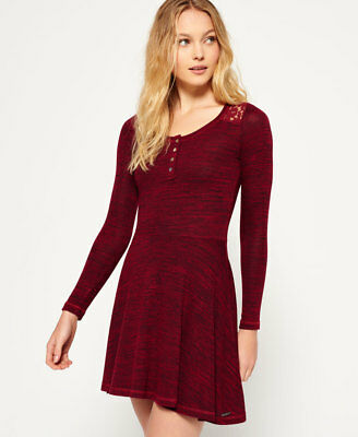 New Womens Superdry Peggy Grandad Skater Dress Rich Berry Twist