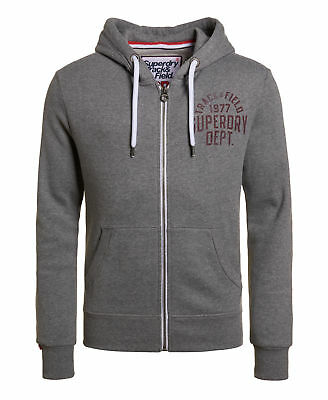 New Mens Superdry Trackster Zip Hoodie Track Charcoal Grit