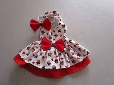 XS Dog dress Female [red acorn] handmade