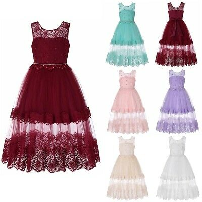 Baby Kid Girls Lace Embroidery Bow Princess Wedding Formal Party Maxi Dress Gown