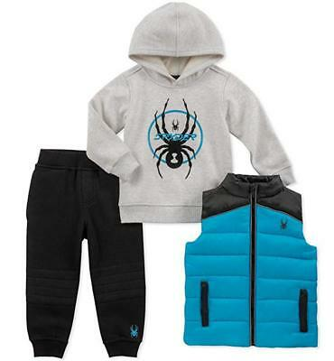 Spyder Boys Cyan Blue & Black 3pc Jogger Size 2T 3T 4T 4 5 6 7