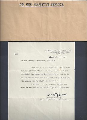 Palestine 1941 Letter Of Recommendation For Zeev Luria Law Student To Abandon Hi