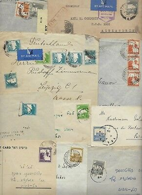 PALESTINE 1930s 40s COLLECTION OF 10 COMMERCIAL COVERS INCLUDES TWO CARDS WAR