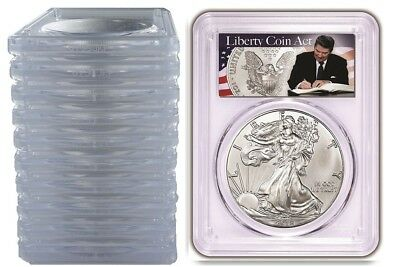 2018 1oz Silver Eagle PCGS MS69 - Liberty Coin Act Label 10 Pack w/PCGS Case