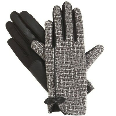 e2495032a ISOTONER Black Basket Weave Fleece Lined smarTouch Womens Stretch Gloves M L