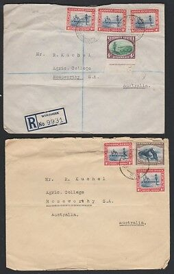 SOUTH WEST AFRICA 109/113b Two covers, 1 reg. Windhoek