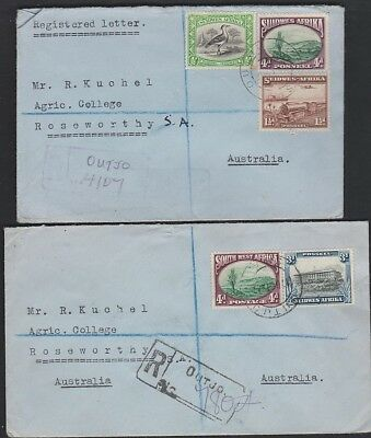SOUTH WEST AFRICA 108b/113a Two Registered OUTJO 1947