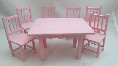 Dollhouse Miniature 1:12th Scale Pink Wood Kitchen Table & 6 Chairs
