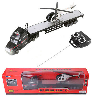 Black Remote Control RC Big Semi Trailer Truck & Helicopter Kids Toy Music Light