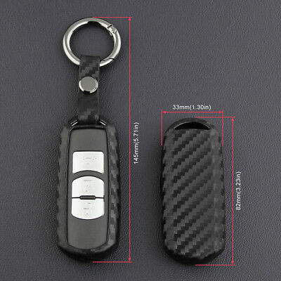 For Mazda 3 6 CX-3 Carbon Fiber Style Car Key Case Cover Fob Holder Accessories