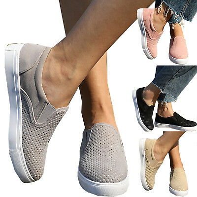 Womens Trainer Breathable Plimsolls Slip On Flat Sports Sneakers Pumps Shoes AU