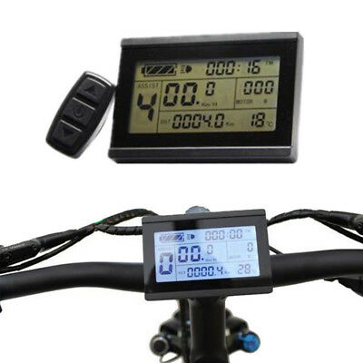 24/36/48V Electric Bicycle Ebike Lcd Display Meter Panel Remote Control Odometer