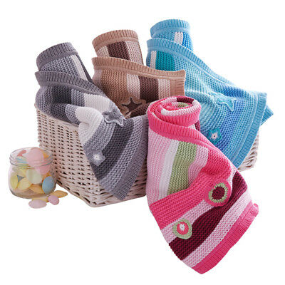 Clair de Lune Pick n Mix 100% Cotton Knitted Blanket, Moses/Crib/Pram