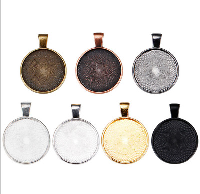 DIY 5X Retro round zinc alloy gem Trays pendant alloy jewelry accessories 25MM