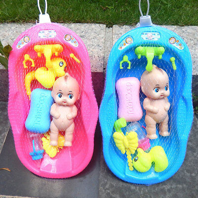 New Baby Doll In Bath Tub With Shower Accessories Set Kids Pretend Role Play Toy