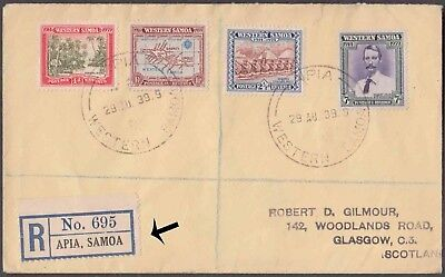 Western  Samoa 1939 Apia Registered 4 Values On Lovely Cover To Scotland